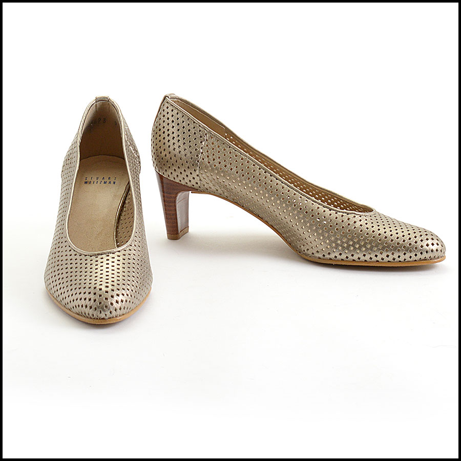 RDC11045 Stuart Weitzman Gold Perforated Leather Pumps