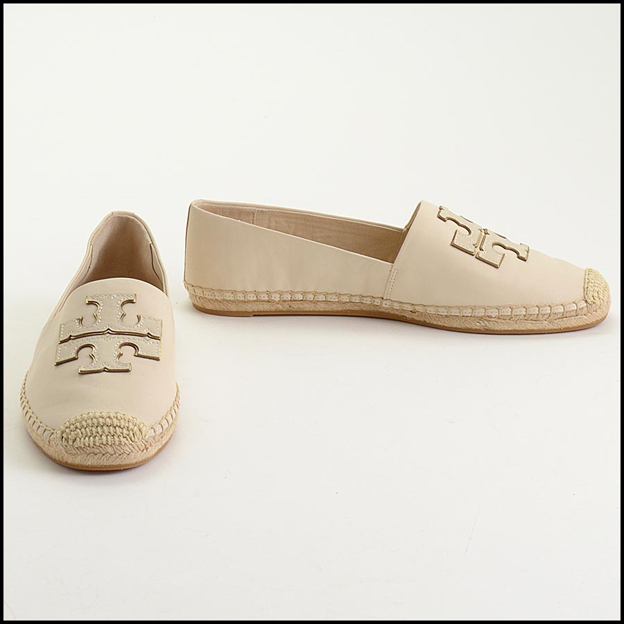RDC11300 Tory Burch Ivory Leather Espadrilles Size 11