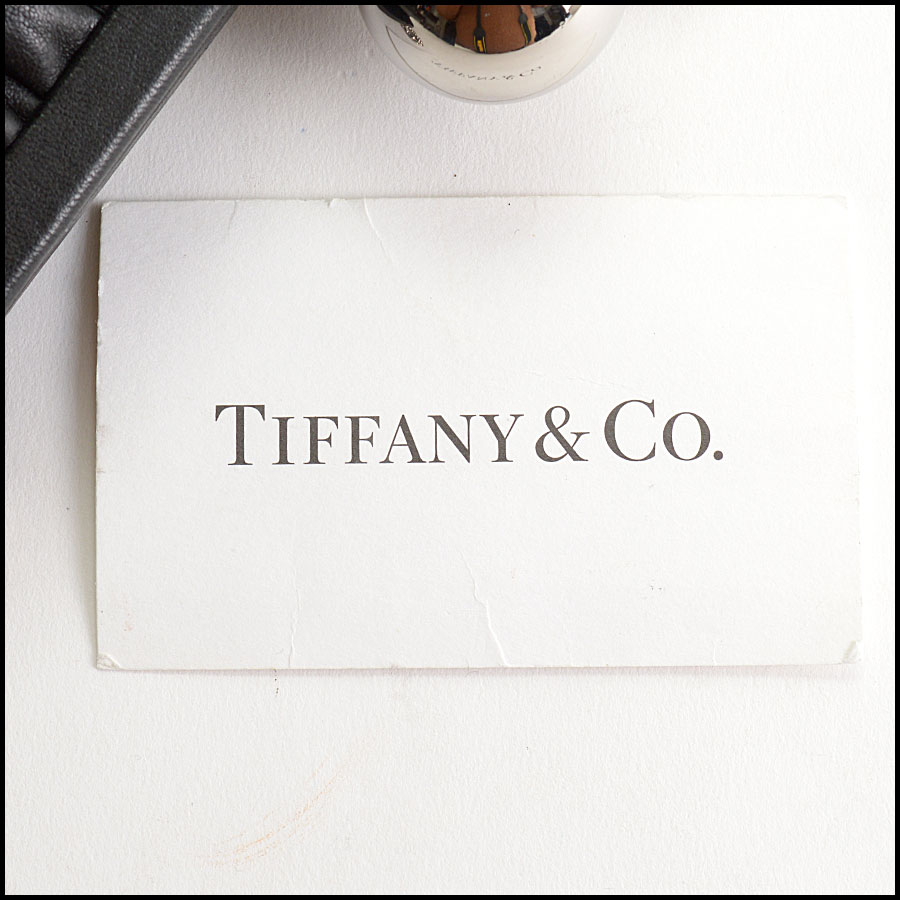 RDC10753 Tiffany & Co. Black Pleated Leather Ball Clasp Bag includes 2