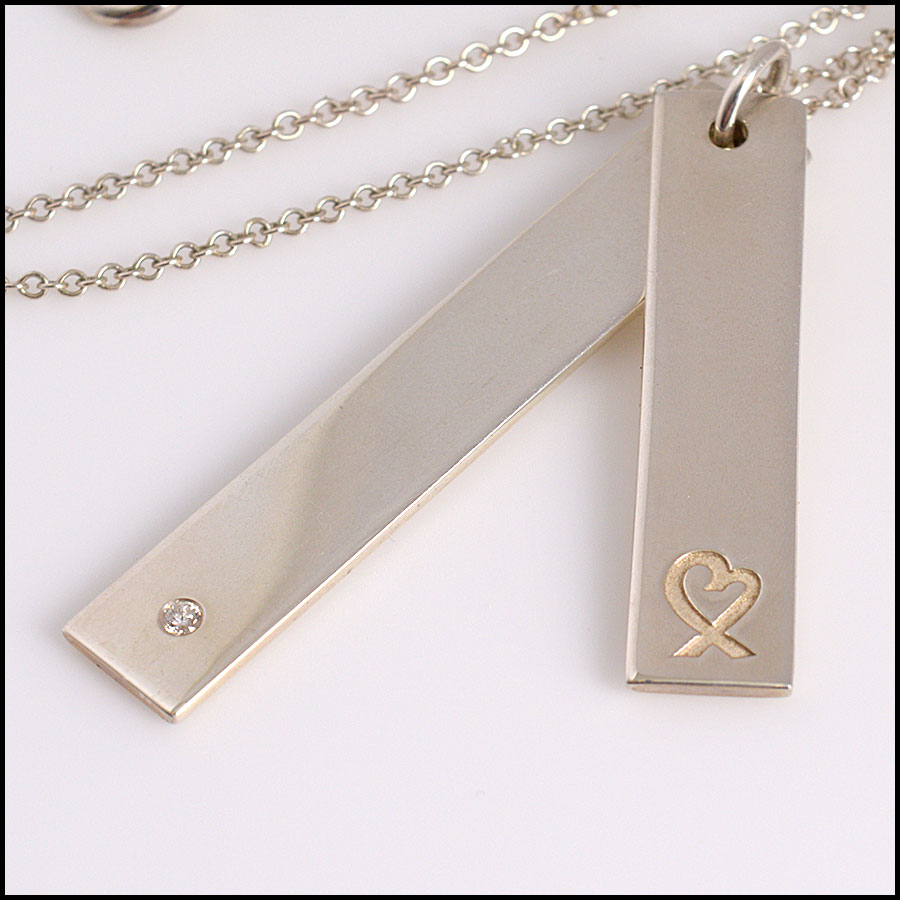 RDC10550 Tiffany & Co. Sterling Heart/Diamond Bar Necklace close up 2