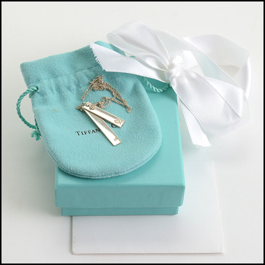 RDC10550 Tiffany & Co. Sterling Heart/Diamond Bar Necklace includes