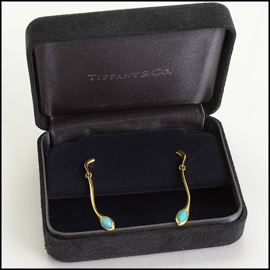 RDC11234 Tiffany & Co. 18K Gold/Turquoise Drop Earrings includes