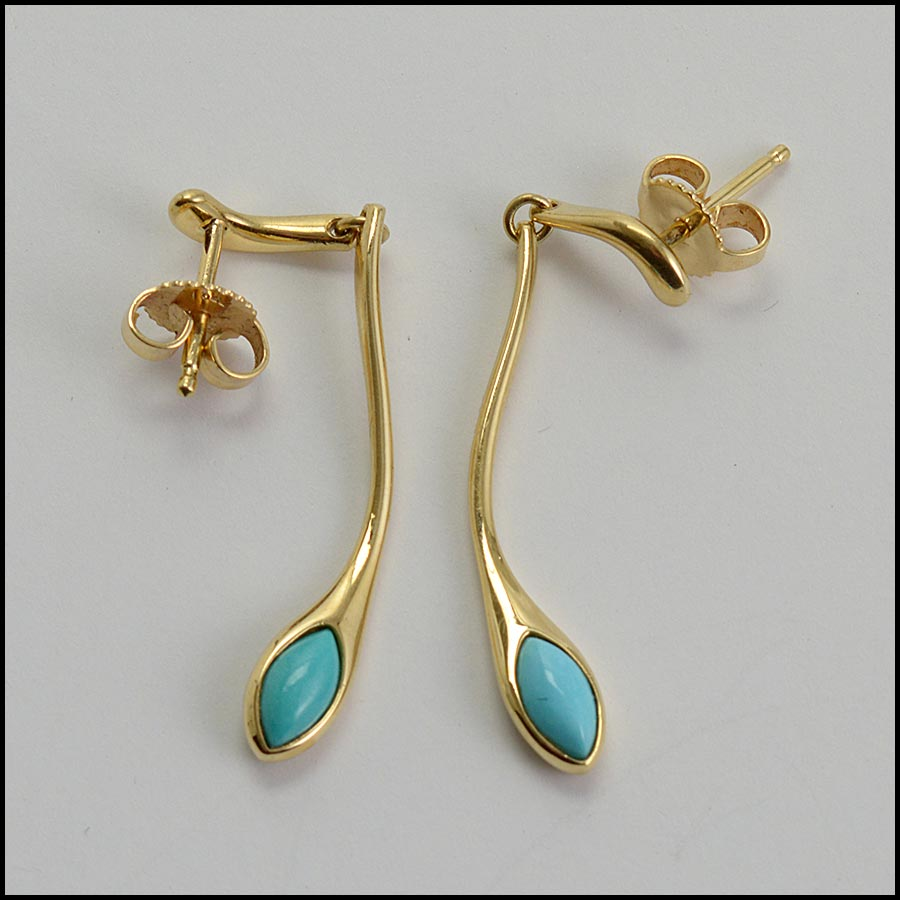 RDC11234 Tiffany & Co. 18K Gold/Turquoise Drop Earrings top