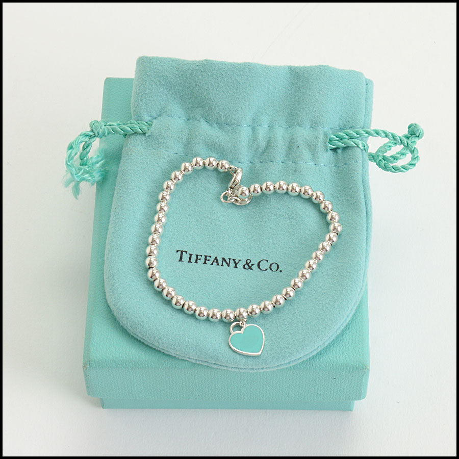 RDC10411 Tiffany & Co. Mini Blue Heart Sterling Beaded Bracelet