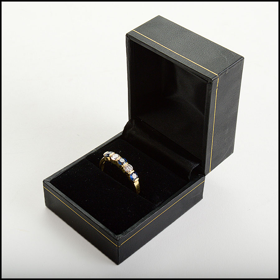 RDC11004 Tiffany & Co. 18K Gold Diamond/Sapphire Band Ring includes