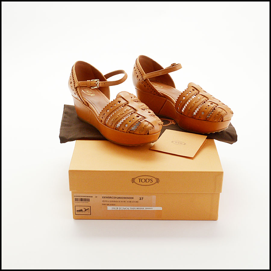 RDC10545 Tod's Tan Leather Wedge Shoes