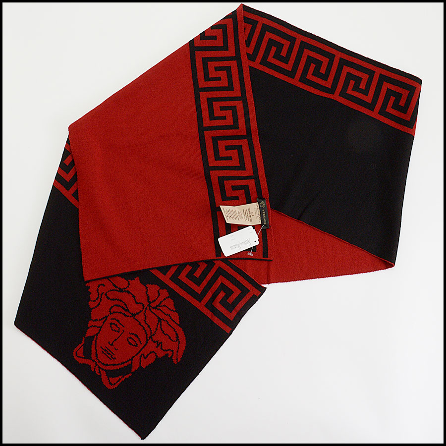 RDC10317 Versace Red/Black Wool Blend Scarf